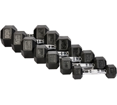 Rubber Hex Dumbbells 3-50lb